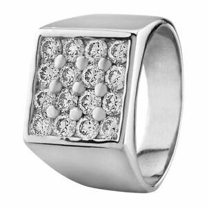 Mens 14K White Gold Finish 3ct Round Cut Diamond Wedding Band Ring