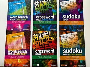 Set of 2 Large Print Wordsearch/Crossword/Sudoku Brain Activity Puzzle Books