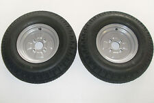 2 OFF 500 X 10 6 PLY 4 STUD 100mm PCD TRAILER WHEELS AND TYRES - NEW ITEMS