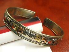 Tibetan 3-Color Copper Filigree Turquoise | Coral OM Mani Amulet Cuff Bracelet