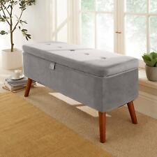 Carson Grey Fabric Velvet Storage Ottoman Chest Bedding Blanket Box Wooden Legs