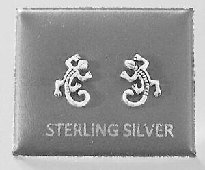 STERLING SILVER 925, STUD EARRINGS GECKO WITH BUTTERFLY BACKS STUD 203