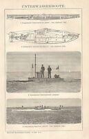 B0433 Sottomarini - Xilografia d'epoca - 1903 Vintage engraving
