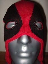 Adult Black Red Marvel Comics Deadpool Merc Face Mask Laplander Beanie Ski Hat