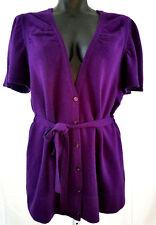 Saks Fifth Avenue Cashmere Sweater Women L Purple Belted Short Butterfly Sleeves