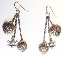 "7cm 3"" Antique gold tone hearts skulls head & cross bones long dangle earrings"