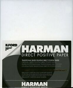 "Ilford harman direct positive darkroom paper B&W 11x14"" Glossy FB - 10 sheets"