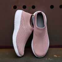 Womens Slip On Spring Sneakers Knitting Sock Mesh Breathable Flat shoes Trainers