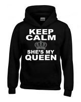 Keep Calm She's My Queen HOODIE Couples Matching Valentines Anni Cute Sweatshirt