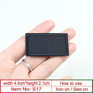 5/100P blank Rectangle Patch 44x21mm Sew on Iron On Black Patches Clothes Repair