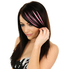 Ladies Clip On Clip In Front Hair Bang Fringe Hair Extension Piece Thin Pink