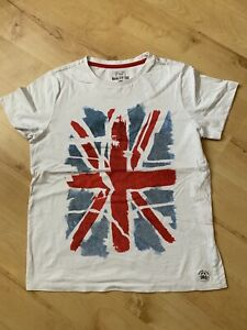 Boys White Abstract Union Jack T-Shirt  F&F Size Age 12-13 years