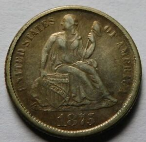 1875-CC Seated Liberty Silver Dime - XF, Better Date and Grade 10C