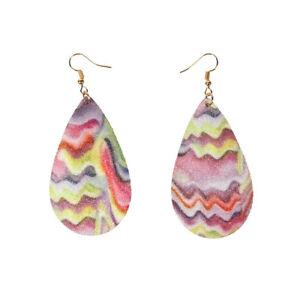 Glitter Acrylic Teardrop Statement Earrings Morocco Rainbow Stripe Women Jewelry
