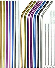 Metal Straws Reusable Mix Color Stainless Steel Drinks Straws Party