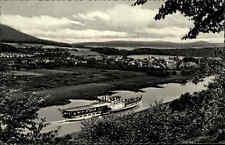 Wehrden Oberweser Nordrhein Westfalen s/w AK 1960 Panorama Flußpartie Schiff