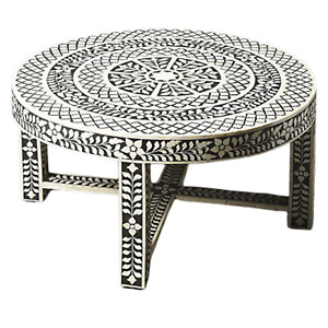 Bone Inlay Round Top Handcrafted Coffee Table