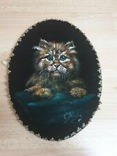 Vintage Retro Mid Century Cat Oil Painting On Felt Kitten