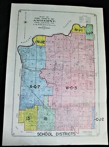 TOWN OF AMHERST ERIE COUNTY NEW YORK SCHOOL DISTRICT MAP 1950 VINTAGE