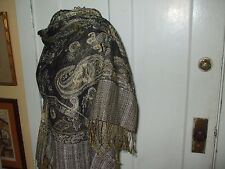 SOFT AND LUXURIOUS BLACK FLORAL AND PAISLEY PASHIMINA STYLE SCARF/SHAWL