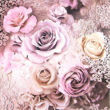 4x Evelien Wedding Roses Party Paper Napkins for Decoupage Craft