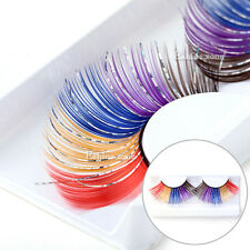 Colorful Glitter Makeup Party Long Feather Eyelahses False Eye Lashes Extension