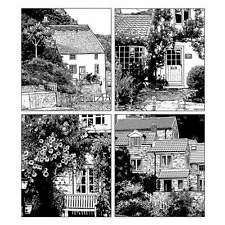 Crafty Individuals FOUR COUNTRY COTTAGES Unmounted Red Rubber Stamps