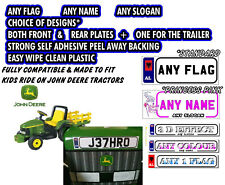 2 X PERSONALISED NUMBER PLATES EXACT SIZE FOR KIDS RIDE ON JOHN DEERE TRACTORS