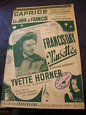 Partition Caprice La java à Francis Yvette Horner 1949 Music Sheet