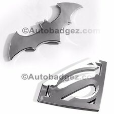 2 - BRAND NEW SUPERMAN vs BATMAN Chrome Badges Emblem (SUPERMAN + BATMAN CHROME)