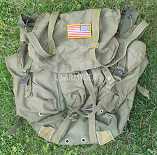 Made US Army Military OD Green ALICE LC Medium Field Pack Bag + Iron Flag POOR