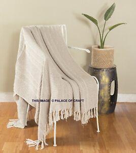 Hand Loomed Soft Cotton Warm Blanket Sofa Rug Bedding Ethnic Couch Tassel Throw