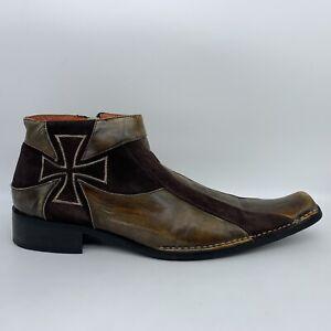 Robert Wayne Ankle Boots Brown Cross Square Toe Side Zipper Men 10.5 M