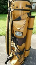 Vintage Camel Color Buttery Leather Belding Sports Golf Bag with Rain Cover