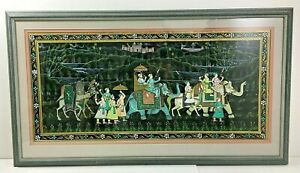 Large Framed Painting on Silk Moghul Indian People Elephants Camels