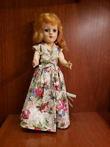 "Vintage 1950's Mary Hoyer 14"" Hard Plastic Doll In Original Dress"