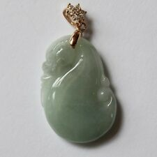 100% Natural Untreated Light Green Jadeite JADE Carved Dragon Fish Pendant #P347