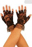 Halloween Lace Ladies Stretch Finger less Wrist Gloves Wedding Fancy Dress