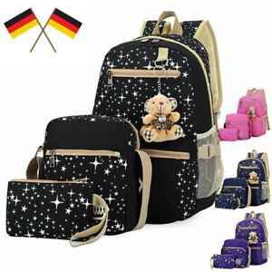 3er Set Kinder Mädchen Schulrucksack Schulranzen Schultasche Schule Rucksack DE