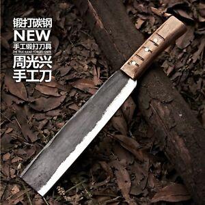 Handmade Forged Chef Chop Bone Knife Spring Steel  Slicing Bone Butcher Knife