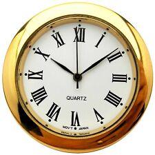 New Quartz Clock Insertion Movement Brass 30mm Diameter Roman Numerals - CM542