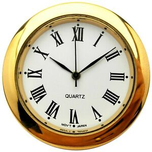 New Quartz Clock Insertion Movement Brass 30mm Diameter Roman Numerals - CM542