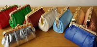 Womens Leather Purse Large Clip Top New Retro Vintage Coin Pocket Pouch Style