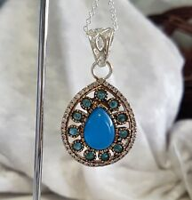 Silver & Brass Blue Chalcedony Gemstone Pendant with chain