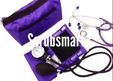 PURPLE Blood Pressure CUFF BP Monitor  + Dual Head Stethoscope Kit Set