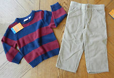 NEW 3T Boy Tan Corduroy Pant & Sweater Lot Adjustable Waist $64 MSRP NWT Clothes