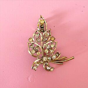 Large Vintage Diamanté Leaf Brooch