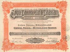 Trust Commercial et Colonial SA, accion de fundador, 1928 (Siege: Bruxelles)