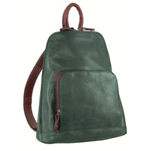 Milleni NL10767 Ladies Twin Zip Backpack in Nappa Leather - Chestnut