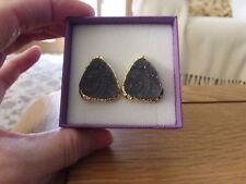 Brand new gold tone stud earrings with a real grey stone centre  gift box